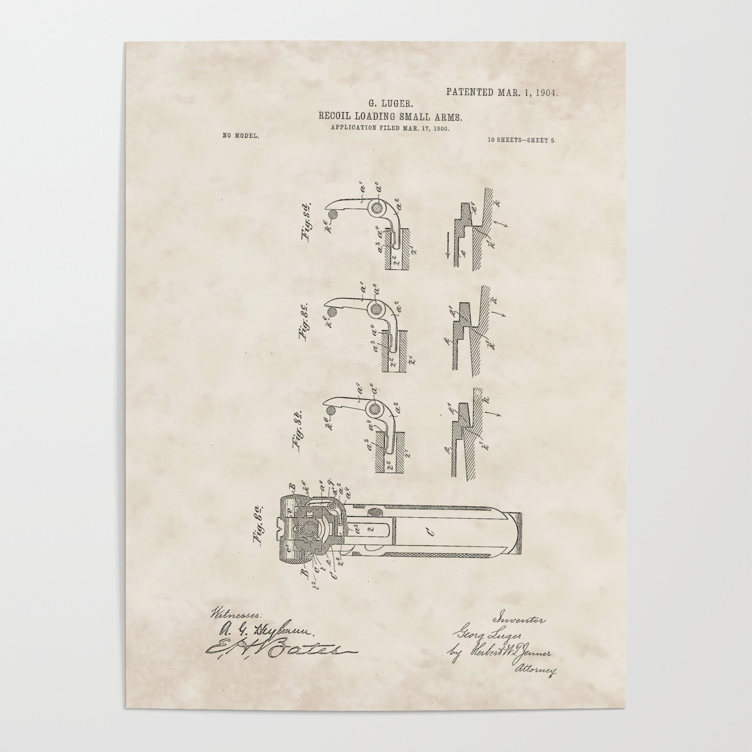Recoil Firearm Vintage Patent Hand Drawing Poster By Patentdrawings Society6