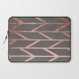 Rose gold chevron stripes geometric pattern on grey cement concrete Laptop Sleeve