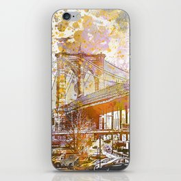 Brooklyn Bridge New York Mixed Media Art iPhone Skin