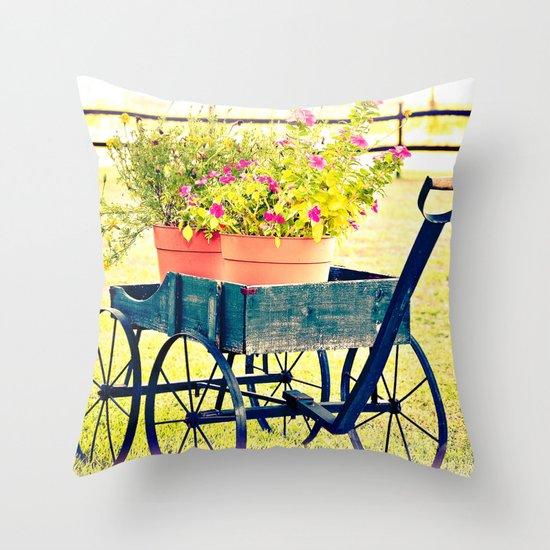 Blooming Wagon Throw Pillow