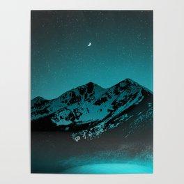 Mountains at night series II // Boulder Colorado Poster