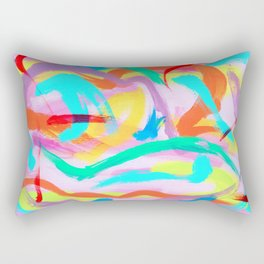 DANCE ALL NIGHT Colorful Modern Art Bright Color Abstract Painting Contemporary Rectangular Pillow
