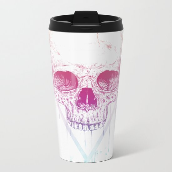 Skull in triangle Metal Travel Mug