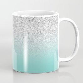 Modern Girly Faux Silver Glitter Ombre Teal Ocean Color Block Coffee Mug