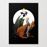 mother of dragons Canvas Prints featuring Mother of Dragons by LaPendeja