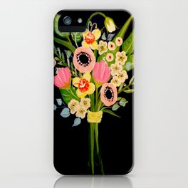Floral Bouquet on Black Background iPhone Case