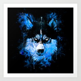 husky dog face splatter watercolor blue Art Print