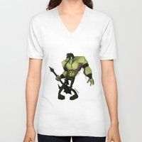misfits V-neck T-shirts featuring Misfits by Roe Mesquita