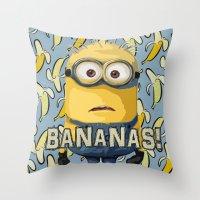 minion Throw Pillows featuring Minion by DisPrints