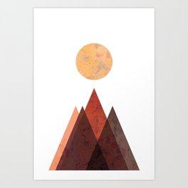 Terracotta Mid Century Mountain Print Art Print