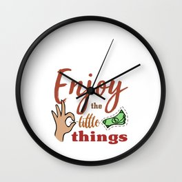 Hand Drawn Illustrations Enjoy the Little Things Simple Life Gift Wall Clock