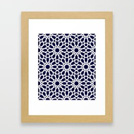 Moroccan Grid Blue Framed Art Print