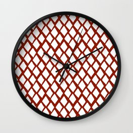 Rhombus White And Red Wall Clock