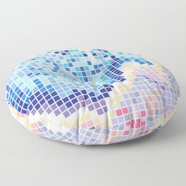 Pixelated Nebula Blue Floor Pillow