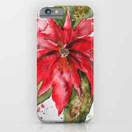 Bright Red Poinsettia Watercolor iPhone Case