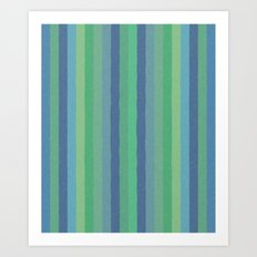 Art Stripe Green and Blue Art Print