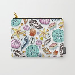 Illustrated Seashell Pattern Carry-All Pouch