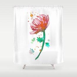 Warm Watercolour Fiordland Flower Shower Curtain