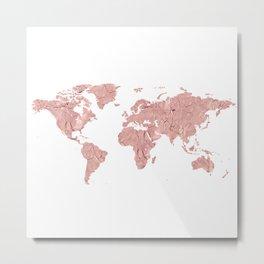 Pink Foil World Map Metal Print