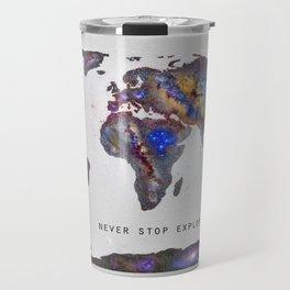 """Star map. Never stop exploring...II"". World map. Travel Mug"
