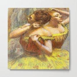 Two Dancers in Yellow by Edgar Degas Metal Print