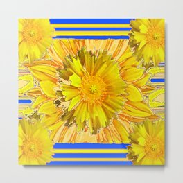 DECORATIVE BLUE & YELLOW FLORAL MODERN ART Metal Print