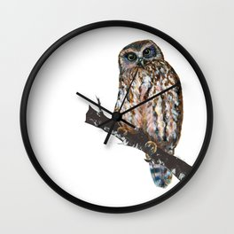 Mrs Ruru, New Zealand Morepork Owl Wall Clock