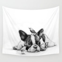Frenchie and the Birds Wall Tapestry