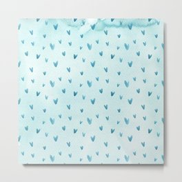 Hand painted pastel blue watercolor hearts pattern Metal Print