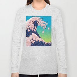 Christmas Baby Pigs The Great Wave in Blue Long Sleeve T-shirt