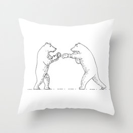 Two Grizzly Bear Boxers Boxing Drawing Throw Pillow
