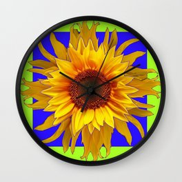 Blue-Chartreuse Yellow Sunflower Floral Design Wall Clock