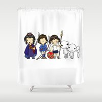princess mononoke Shower Curtains featuring Princess of the Forest, Mononoke by Space Bat designs