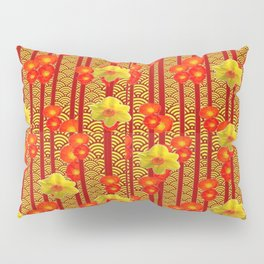 Red Oriental Style Poppies & Daffodils Pattern Pillow Sham