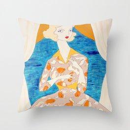 The Goldfish Keeper Throw Pillow