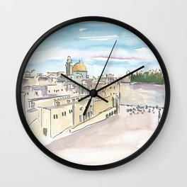 Jerusalem Temple Mount With Western Wall Wall Clock