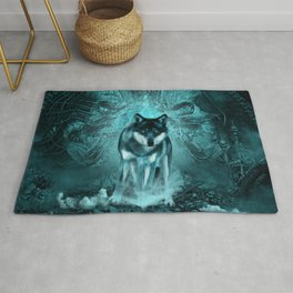 Awesome wolf in the night Rug