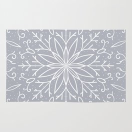 Single Snowflake - Silver Rug