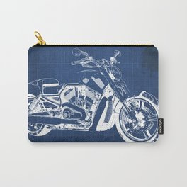 Blue motorcycle blueprint, HD VRSCF V-Rod Muscle,white line,home decor,man office, man cave decor Carry-All Pouch