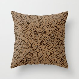 Little wild cheetah spots animal print neutral home trend rust copper black  Throw Pillow