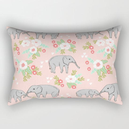 Elephants pattern blush pink pastel with florals cute nursery baby animals lucky gifts Rectangular Pillow