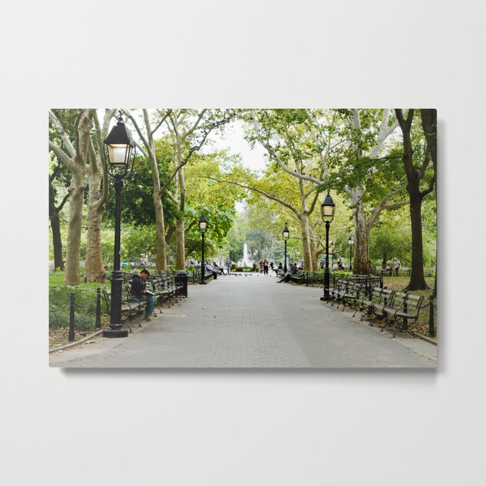 Morning Stroll in the Village Metal Print