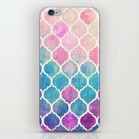 Rainbow Pastel Watercolor Moroccan Pattern iPhone & iPod Skin