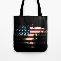 american flag Tote Bags featuring AMERICAN FLAG by Oksana Smith