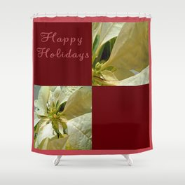 Pale Yellow Poinsettia 1 Happy Holidays Q10F1 Shower Curtain