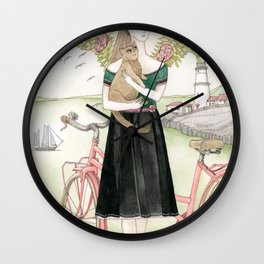 Girl and cat with pink bicycle Wall Clock