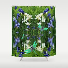 TURQUOISE DRAGONFLIES IRIS WATER REFLECTIONS Shower Curtain