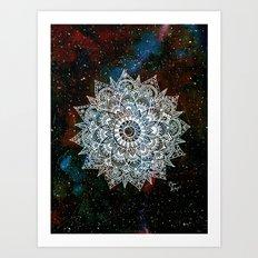 White Galaxy Mandala Art Print