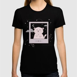 Instant photo cat in space T-shirt