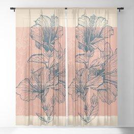 Hibiscus Colors Sheer Curtain